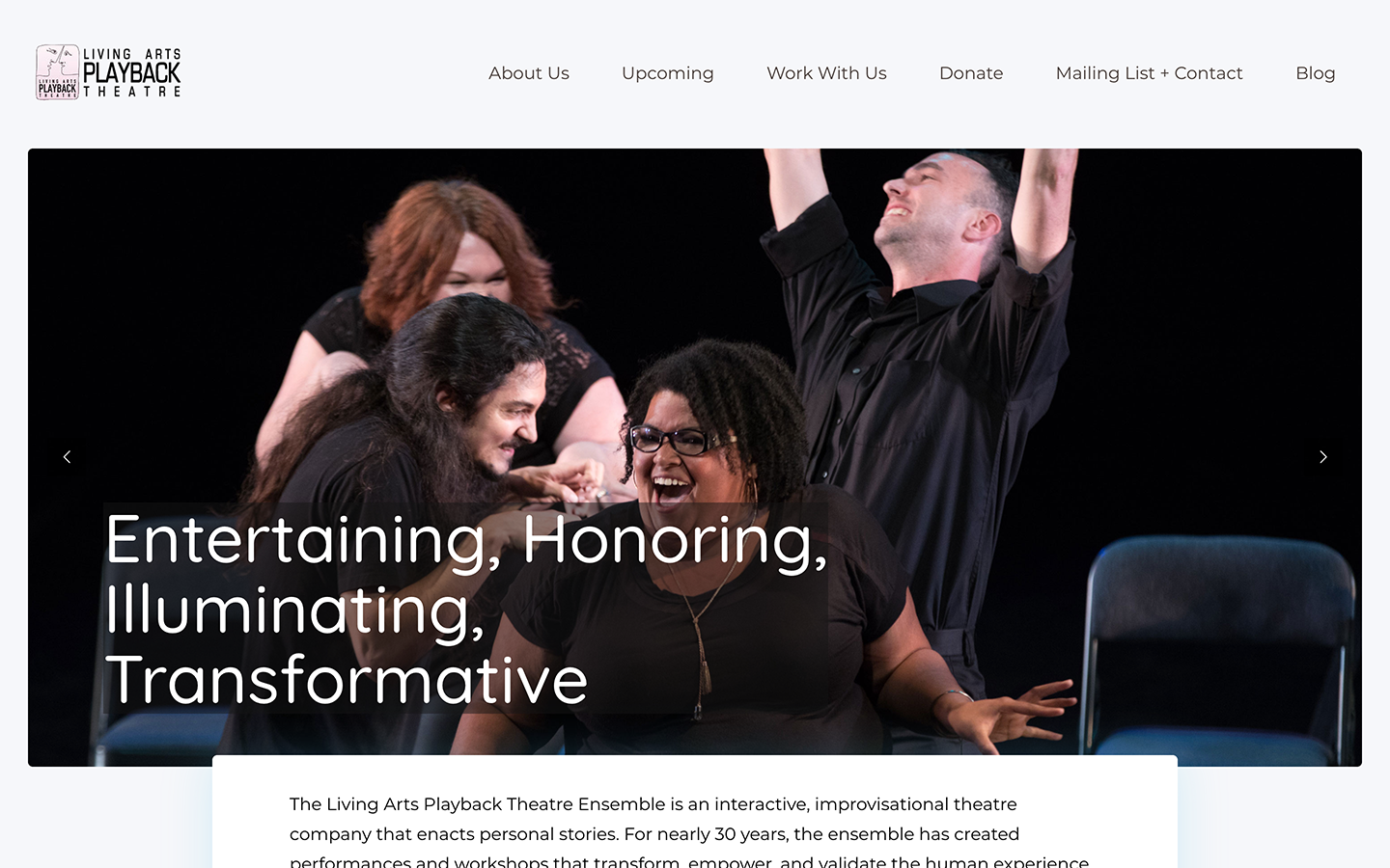 hero image and caption for living arts playback theatre ensemble website